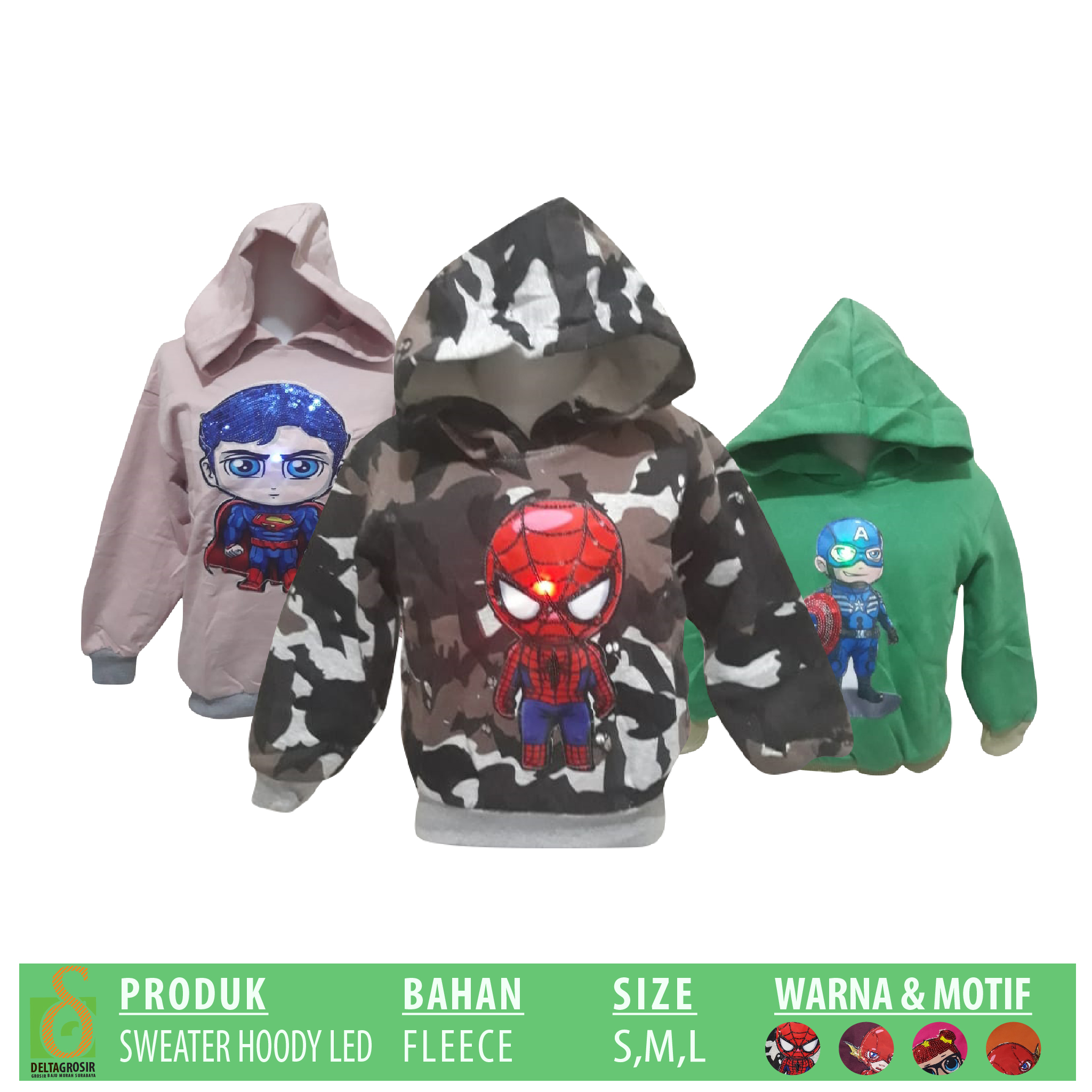 Pabrik Sweater Hoody LED Anak Murah di Surabaya