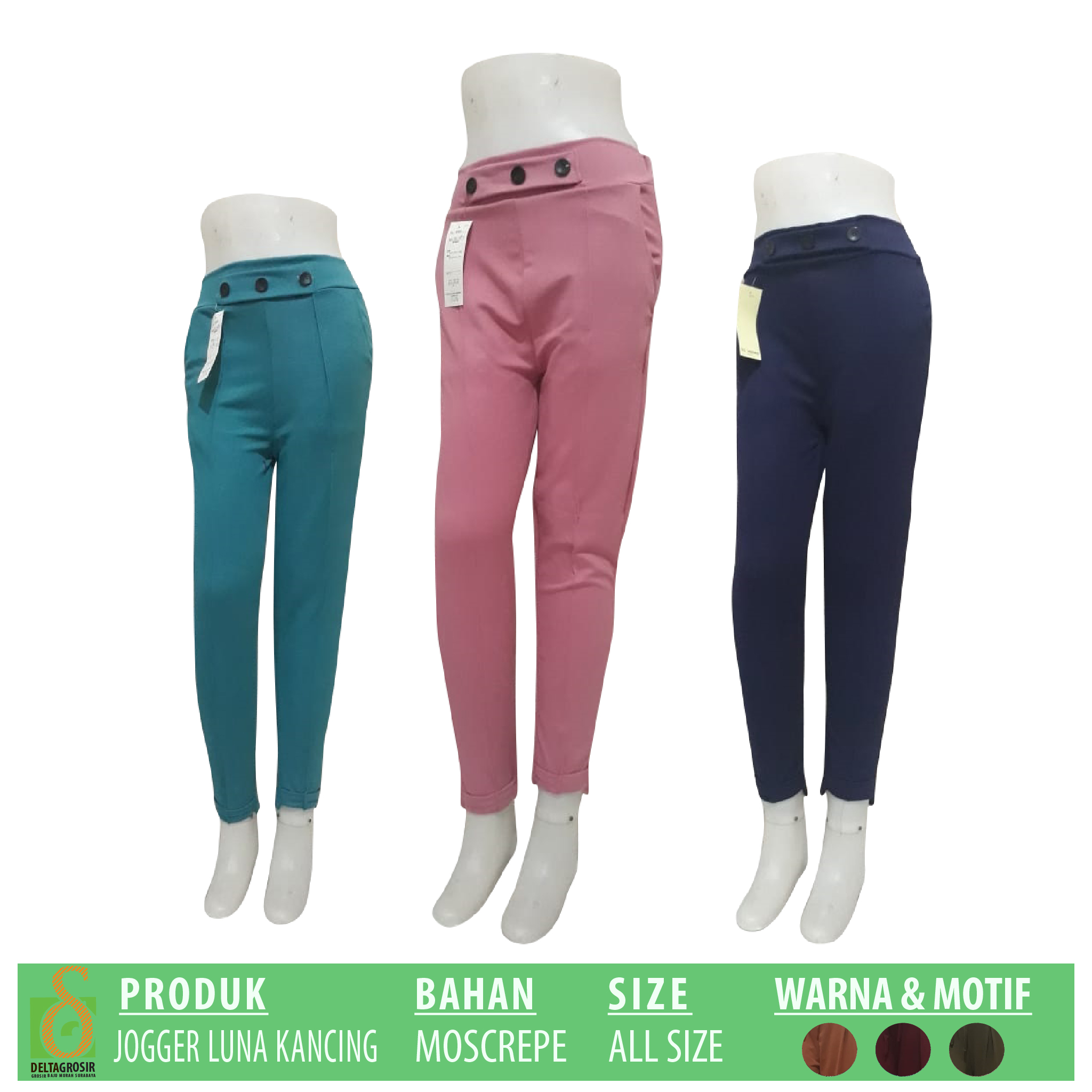 Pabrik Celana Jogger Luna Kancing Dewasa Murah di Surabaya